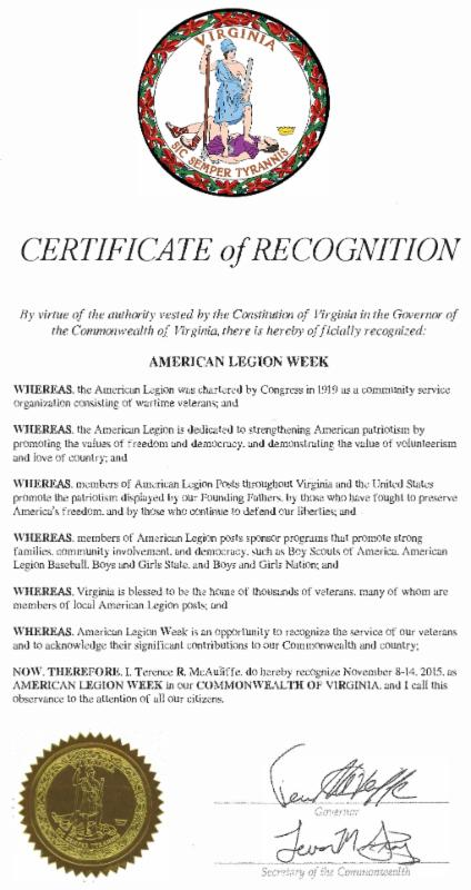 2015 American Legion Week Certificate of Recognition