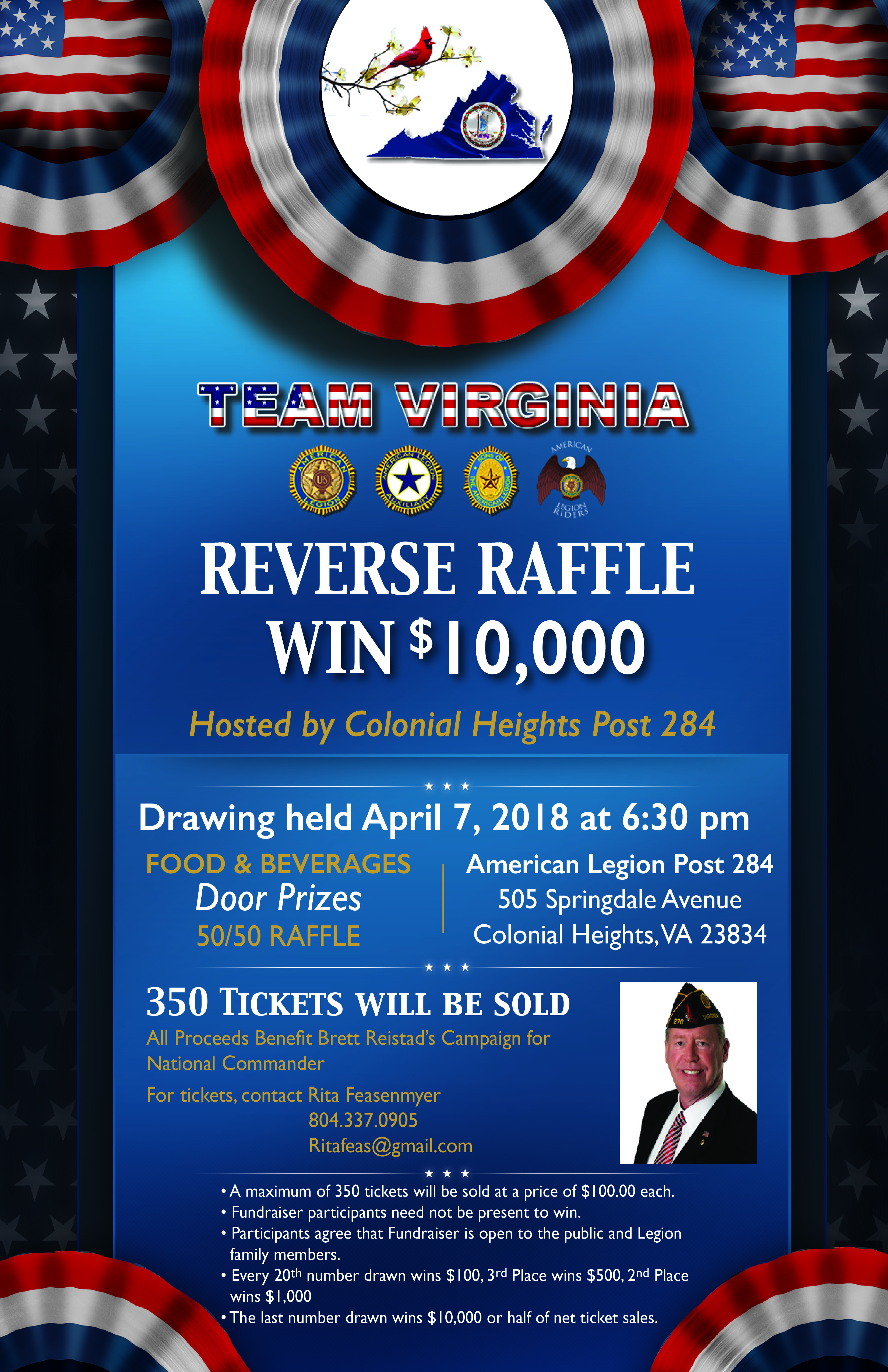 reverse raffle flyer for leading candidate for national commander